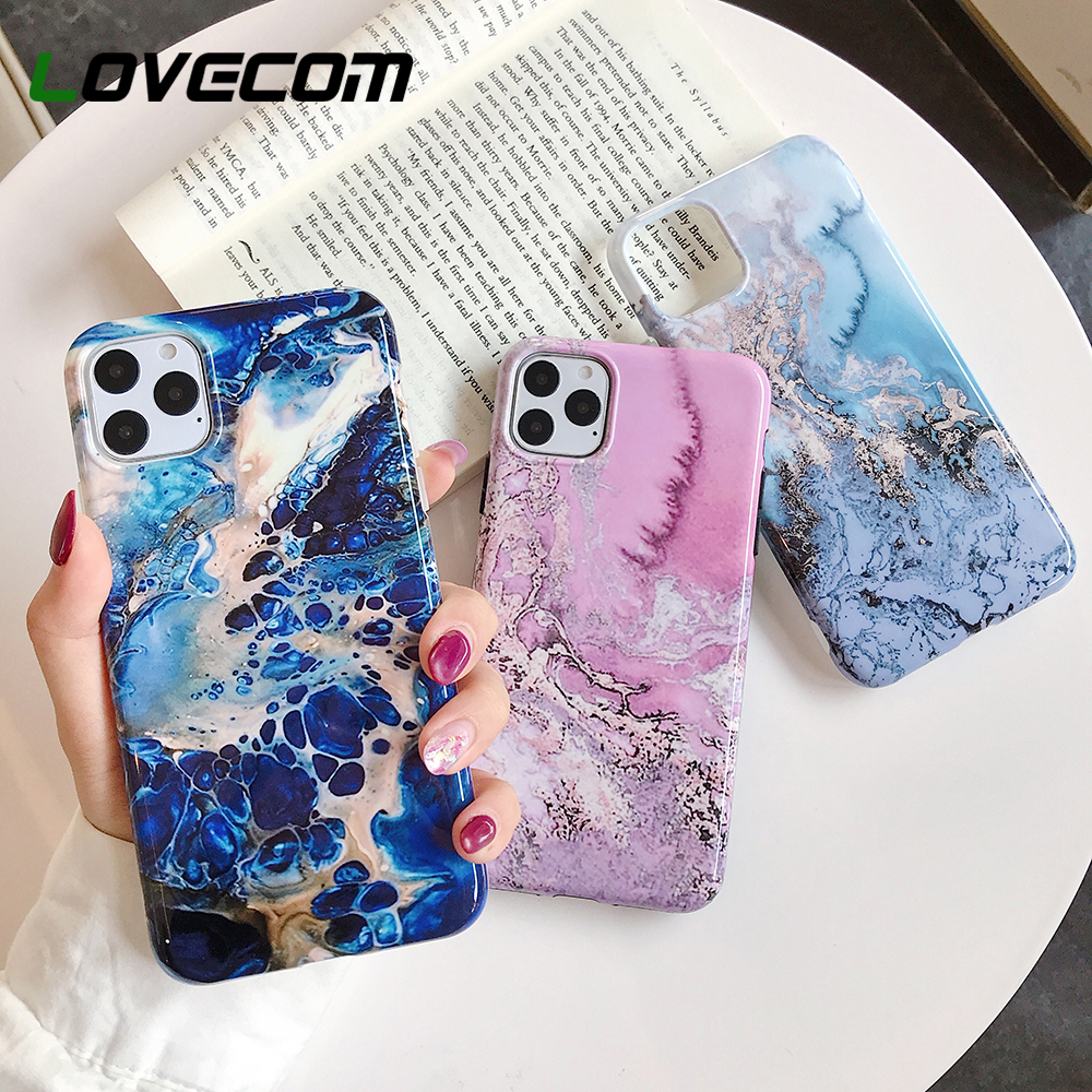 LOVECOM Vintage Granite Marble Phone Case For iPhone 12 Mini 11 Pro Max XR XS Max 6 6S 7 8 Plus X Soft IMD Glossy Back Cover Phone Case & Covers  - AliExpress
