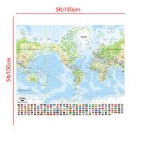The World Mercator Projection Map with National Flag 150x150cm Non-woven Waterproof World Map For Education