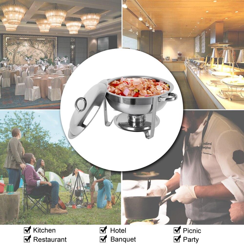 5L 4 Pack Rvs Ronde Buffet Grill Keuken Self Service Omgevingen Accessoires Draagbare Huishoudelijke Benodigdheden - 6