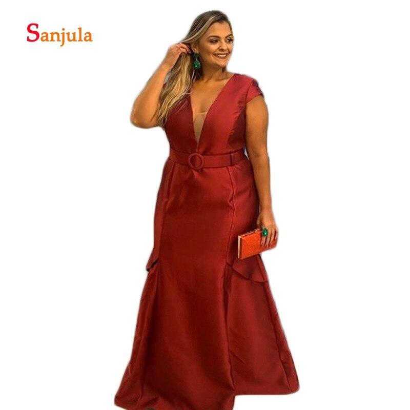 Cap Sleeve Plus Size Mother Of The Bride Dresses V Neck Long Groom Mother Gowns Dark Red Satin Women Formal Dresses D1407