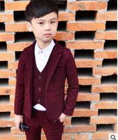 Autumn New 3 piece set Kids Plaid Wedding Blazer Suit Brand Flower Boys Formal Tuxedos School Suit Kids Spring Clothing Set
