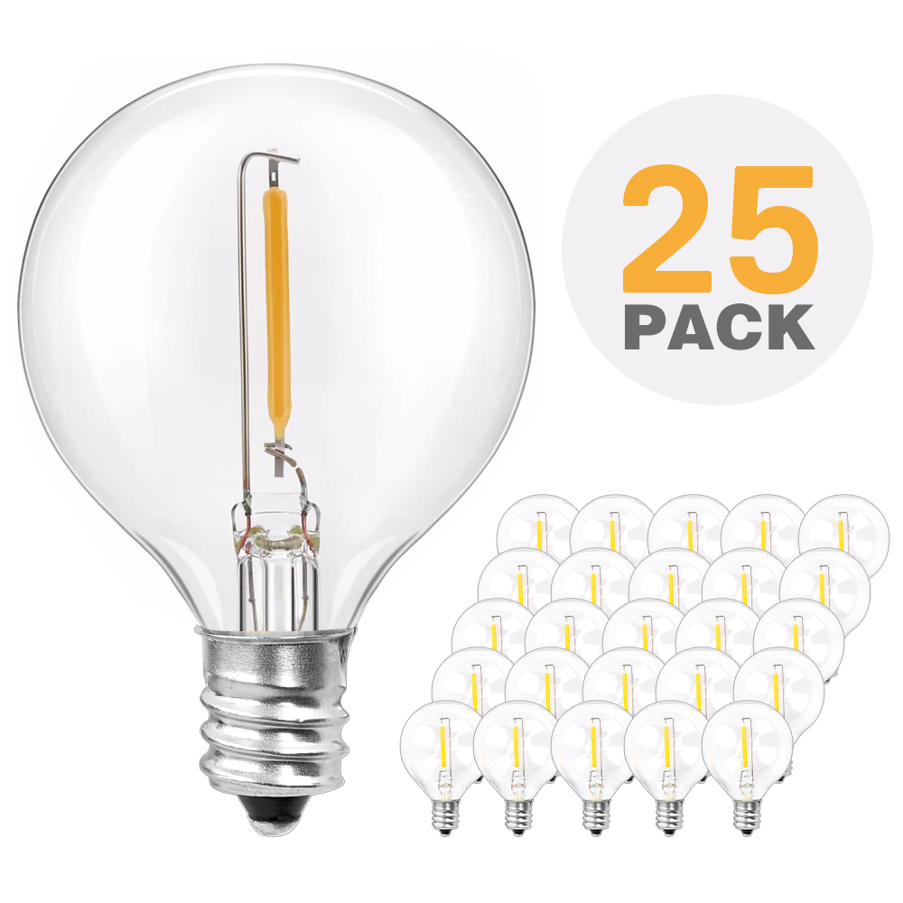 25X G40 Clear Globe Bulbs, E12 Warm Led Replace G40 5W 7W Incandescent Bulbs, Same Effect Replaceable Light Bulb For G40 Strands