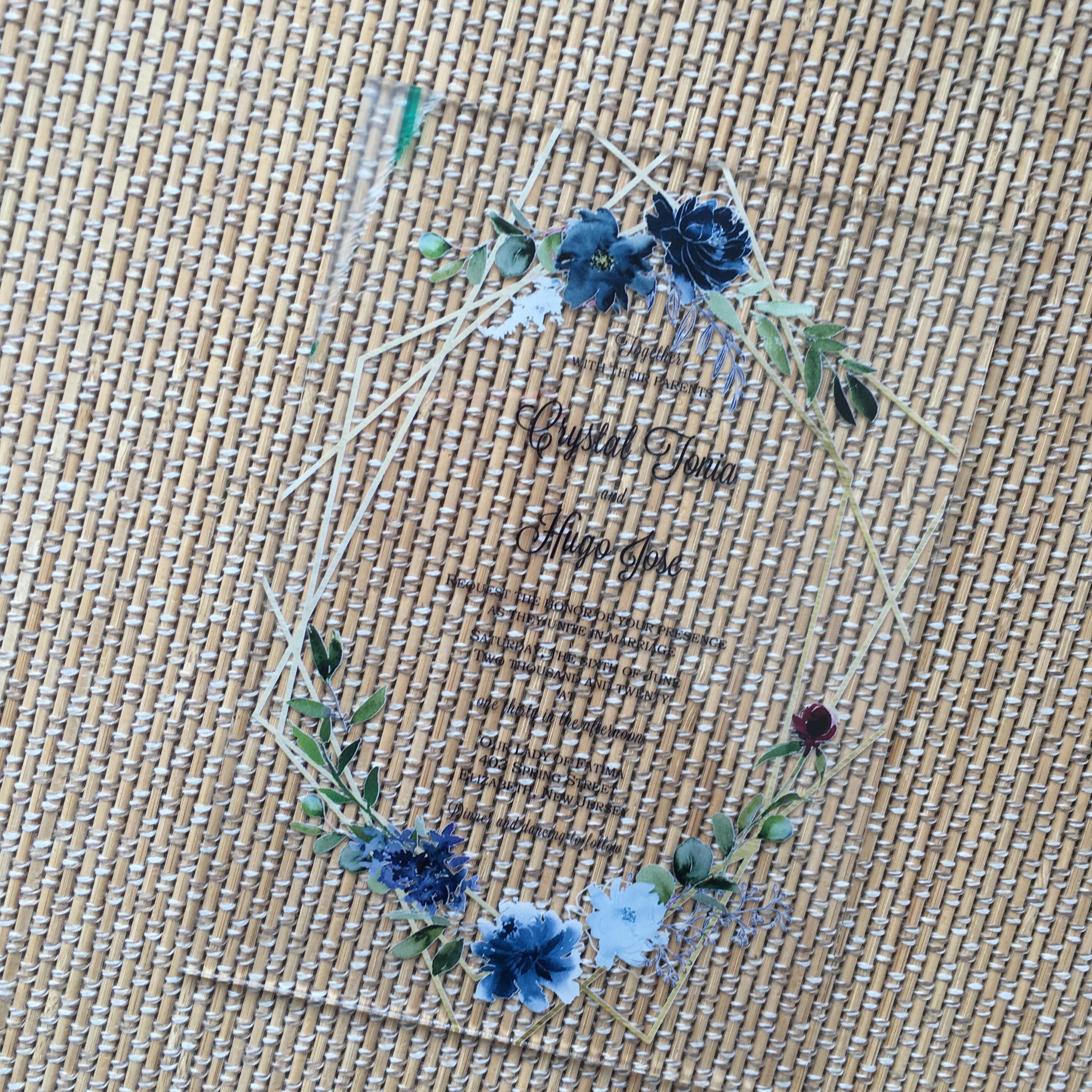 10pcs Royal Blue Wedding Invitation Card Lace Floral Custom Wedding Souvenir Cards For Wedding