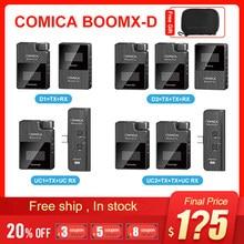 Comica boomx-d d2 microfone kit transmissor sem fio mini celular microfon receptor digital 2.4g condensador microfone estéreo vs microfone