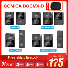 Comica boomx d d2 microfone kit transmissor sem fio mini celular microfon receptor digital 2.4g condensador microfone estéreo vs microfone