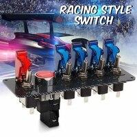 12V Auto LED Toggle Ignition Switch Panel Racing Car Engine Start Push Set Kit + 4 Blue & 1 Red LED Toggle Button Panel