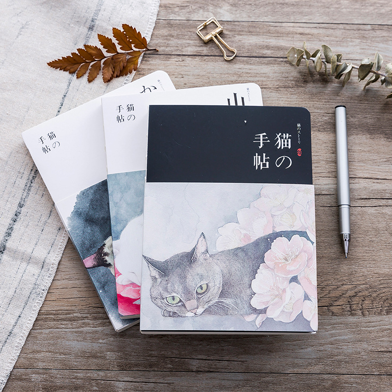 Japanese Cat Notebook Scrapbook For Girl Office Stationery School Supplies 18x13cm Kawaii Planner For Girl