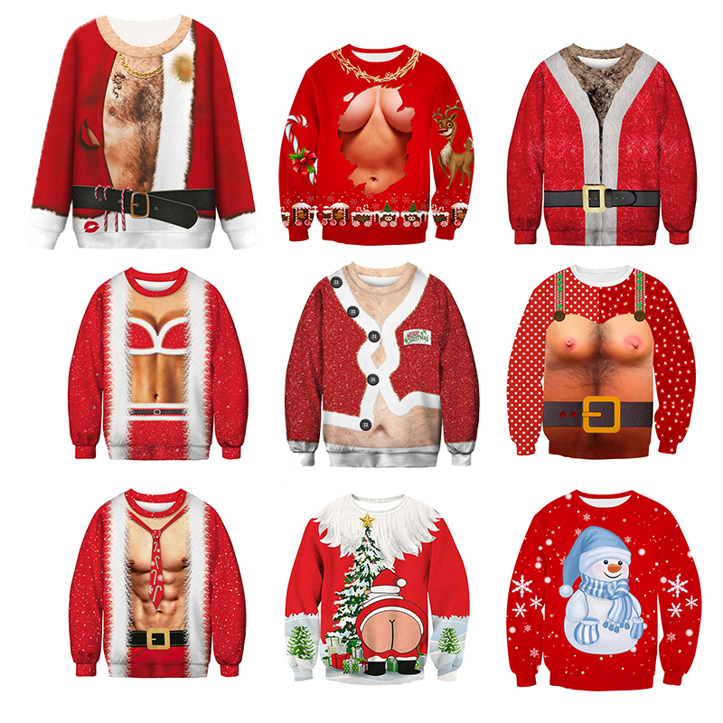 Men's Sweater Pull Homme Ugly Christmas Sweater Santa Claus 3d Loose Hoodie Men Women Christmas Funny Pullover Men Clothes