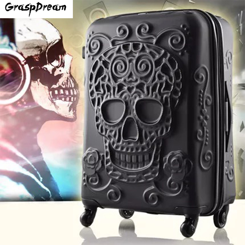 Travel-Bag Case Boarding Trolley Wheels Skull-Rolling-Luggage Women Fashion Brand 3D