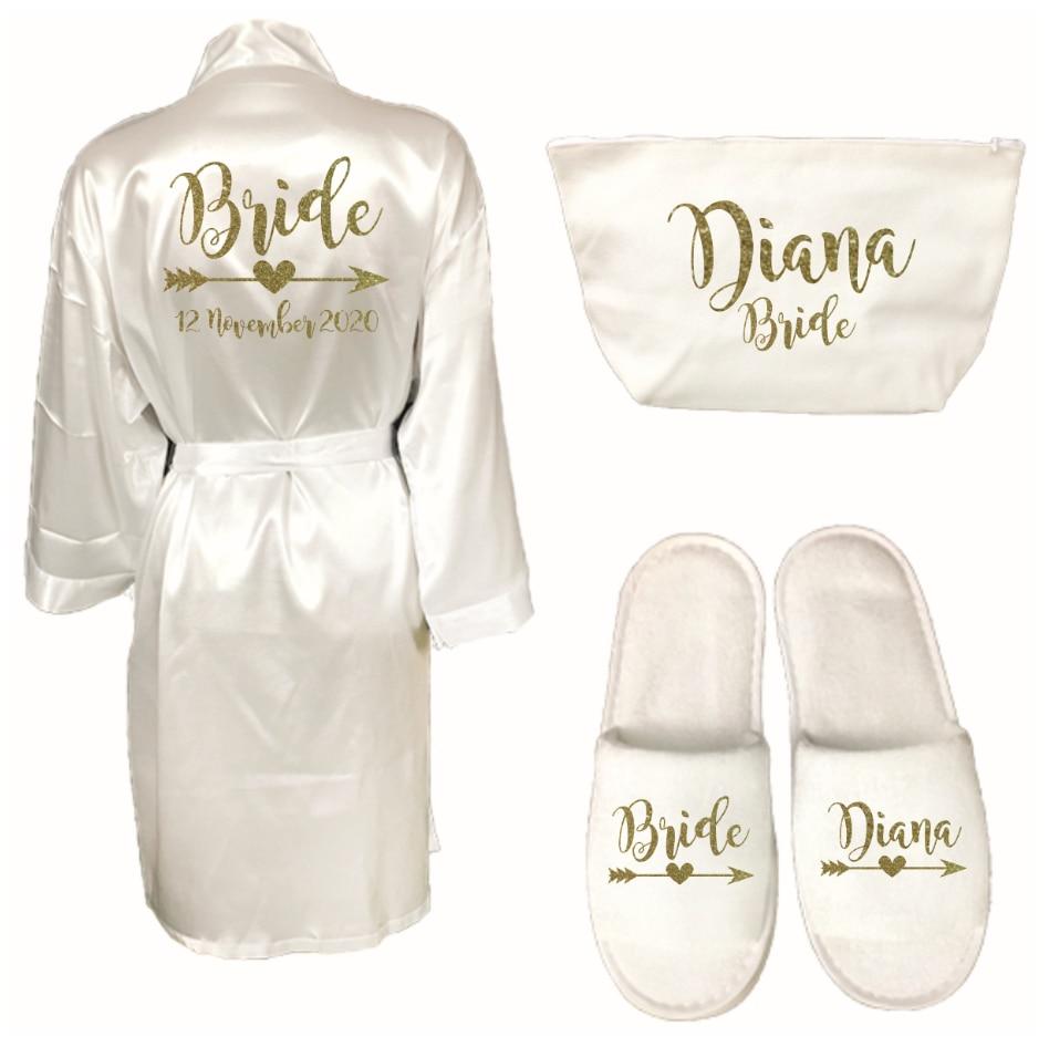 מותאם אישית ארוך גלימת אישיות חלוק עבור Bridedal מסיבת אמולציה משי רך בית חלוק רחצה לנשים קימונו גלימות נעליים
