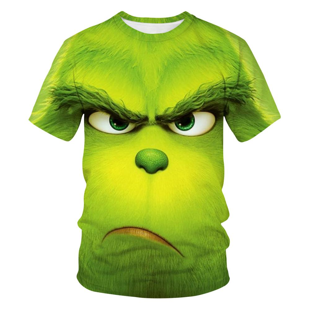 2021 Summer Full Printed 3DT Shirt Men's Fun Green Short Sleeve Printed O-Neck Daily Casual Funny T-shirt Green Monster Top