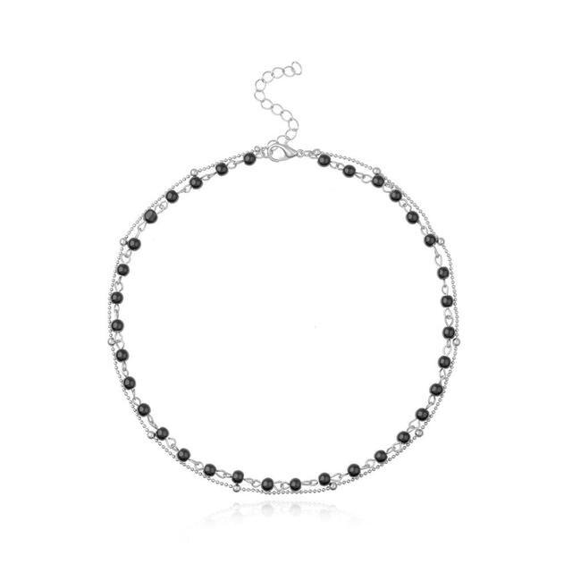 Двухслойное ожерелье чокер для женщин черно белое с цепочкой
