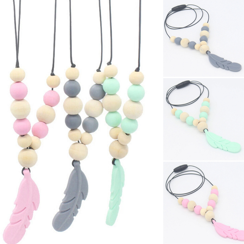 1pc Food Grade Silicone Teething Necklace Baby Teething Toy Silicone Beads Baby Teether Necklaces Chewing Toys Toddler Gifts