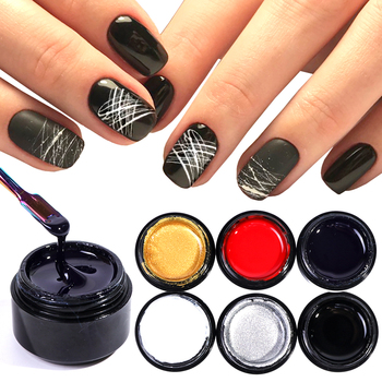 1 Bottle Nail Spider Gel Web Painting Creative Nail Art UV Gel Wire Point Drawing Lacquer Pulling Silk Nail Art Polish LAA10-1