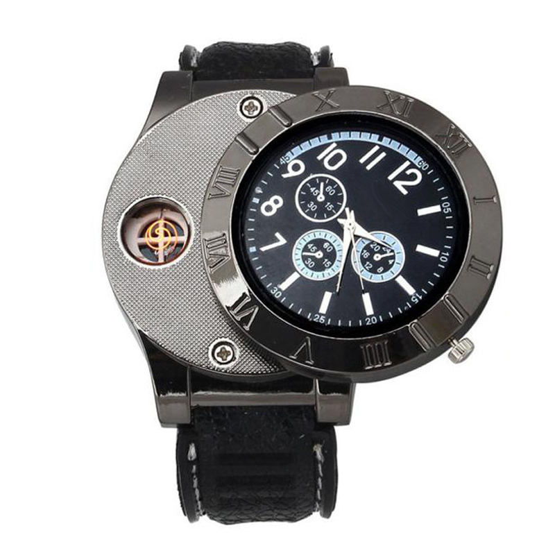 Men Watches Fashion USB Charge Windproof Electronic Flameless Lighter Watches Men Watches Quartz Erkek Kol Saat Heren Horloge