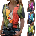Summer Portrait Printing V Neck Short Sleeved Top Women's Casual Loose Fashion Large Size T Shirt