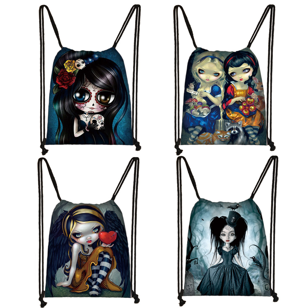 Cute Cartoon Gothic Girls Drawstring Bag Women Fashion Storage Bag Teenager Girls Canvas Backpack Ladies Party Shopping Bags