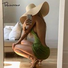 Tobinoone halter sexy sem costas vestidos curtos bodycon clube magro festa de verão vestido de malha streetwear praia férias
