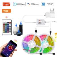 Tuya Smart LED de luz de tira WiFi RGB DC12V SMD5050 5m 10m 15m 20m trabajo con asistente de Google Alexa Control de voz para dormitorio casa