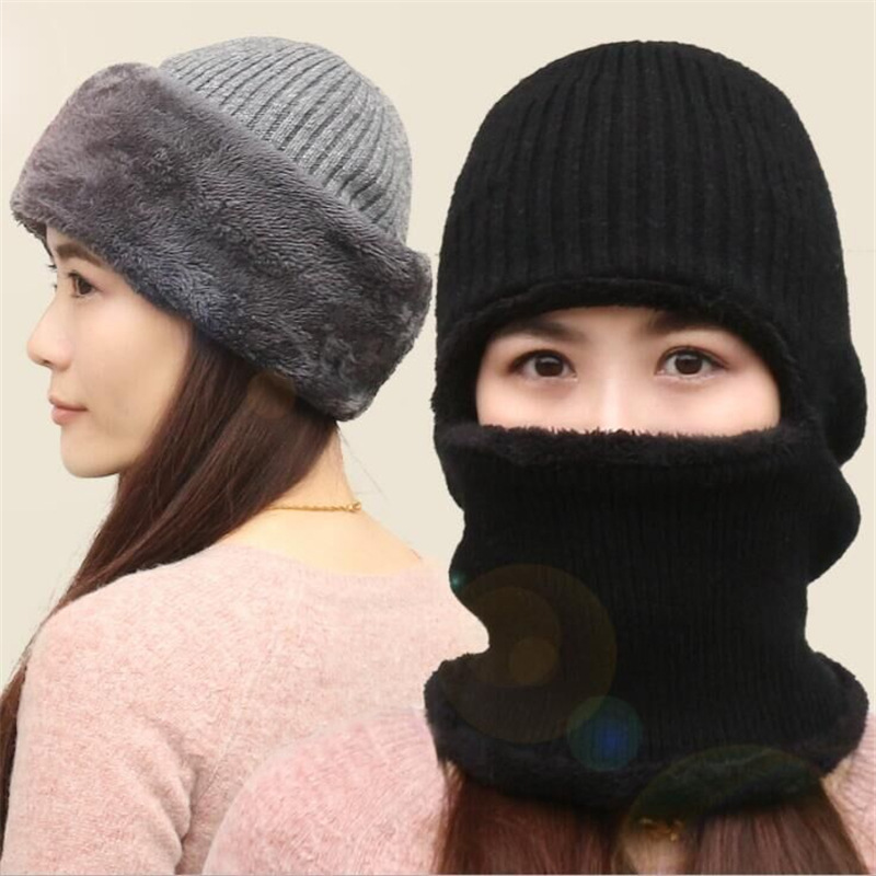 Wool Pullover Plus Plush Thickened Knitted Masked Hat Scarf Set Men Women Ear Protection Autumn And Winter Warm