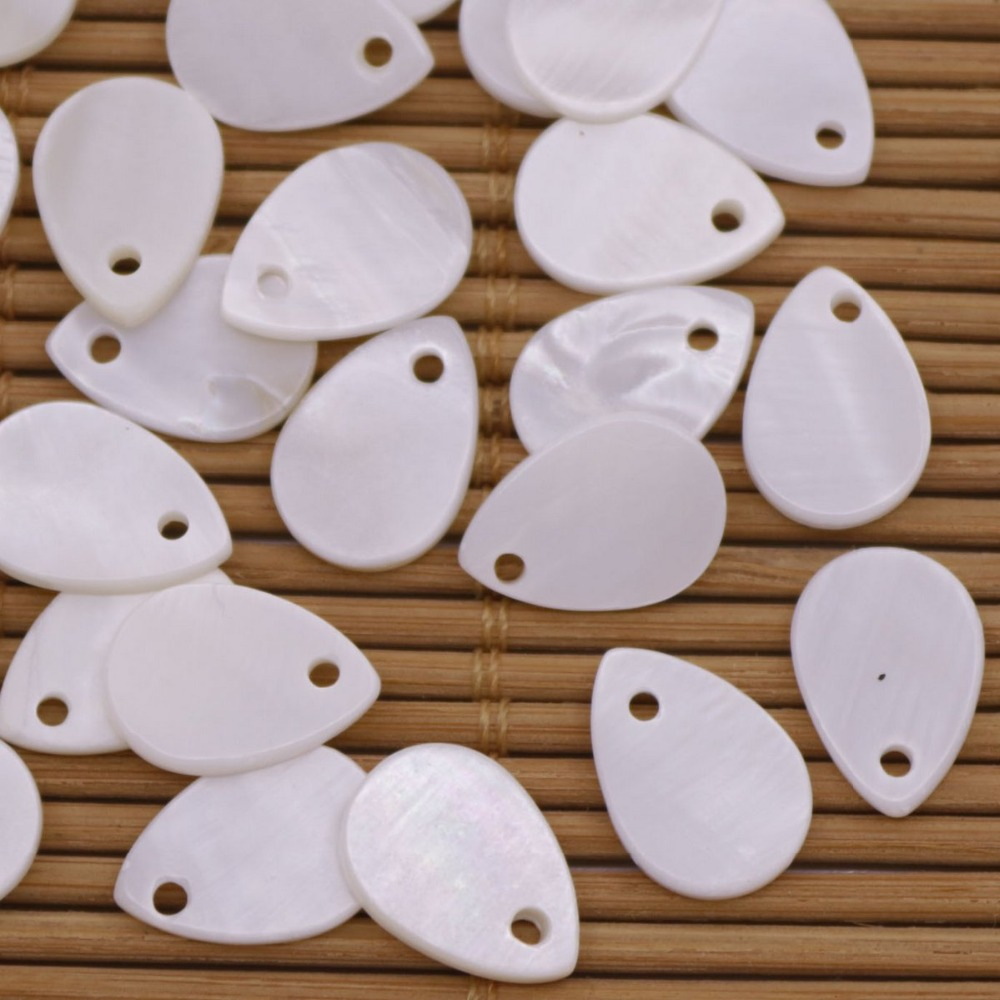 Купить с кэшбэком 50 PCS Teardrop Shell Natural White Mother of Pearl Jewelry Making DIY 9mmX13mm