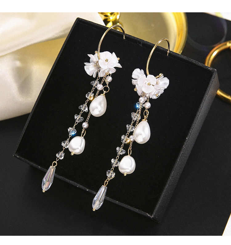Vintage Crystal Water Drop Women Dangle Earrings Pearl Flower Fringed Earrings Sweet Shell Earrings Bohemian Drop Earrings