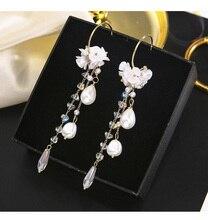 Pendientes colgantes de gota de agua de cristal Vintage para mujer pendientes de perlas con flecos