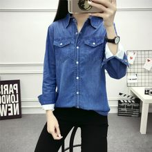 2020 Winter Fur Lining Warm Womens Blouse Long Sleeve Denim Shirts Lapel Collar Korean Female Jeans Clothes Tops Plus Size S-3XL(China)