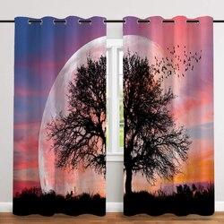 2 sztuk/zestaw Big Tree druk cyfrowy zagęszczony tkaniny kurtyny Nordic okno zasłony zaciemniające do sypialni i salonu