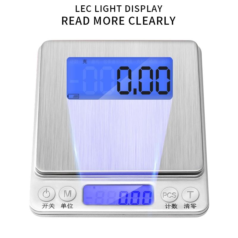 Peso de Gramas Eletrônicas de Precisão Balança para Balança Digital de Chá Joias 500g 1 2 3kg Lcd 0.01 – 0.1g