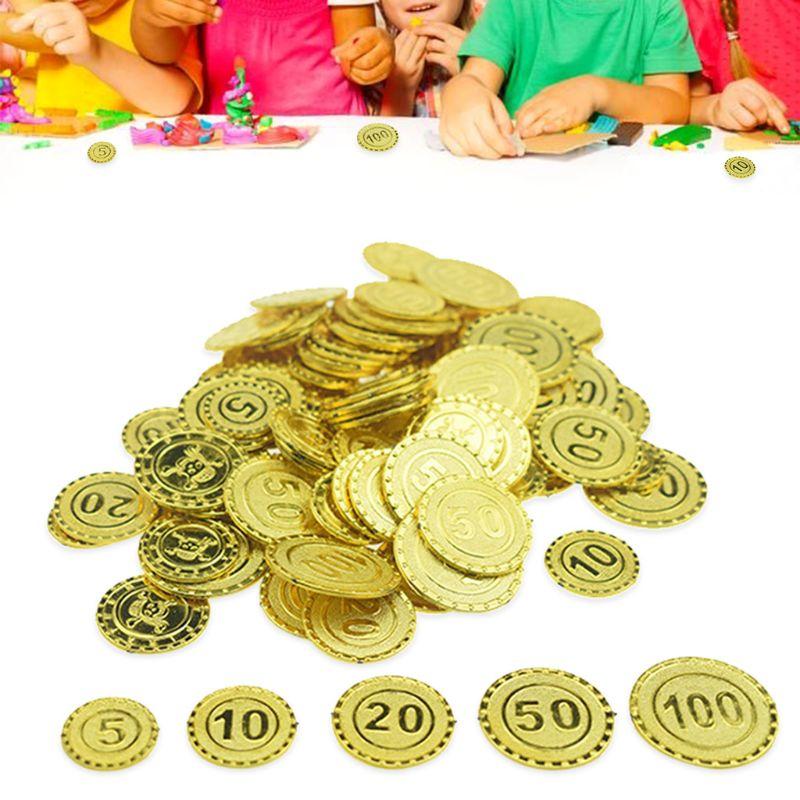100 шт Пираты золотые монеты пластиковые игры монета чип для вечерние украшения детские игрушки