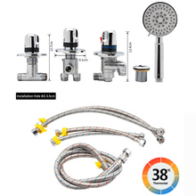 цена на Brass Valve Core Cold&Hot Water Mixer Tap Kit Triple Handles Waterfall Bathtub Faucets two ways Hand Shower&Faucet Output