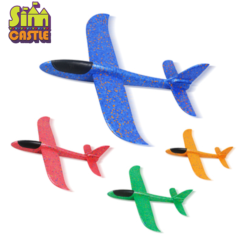 DIY Hand Throw 48cm Flying Planes Toys For Children Outdoor Sports Foam Aeroplane Model Cyclotron Gliding Fly Boys Game Figure
