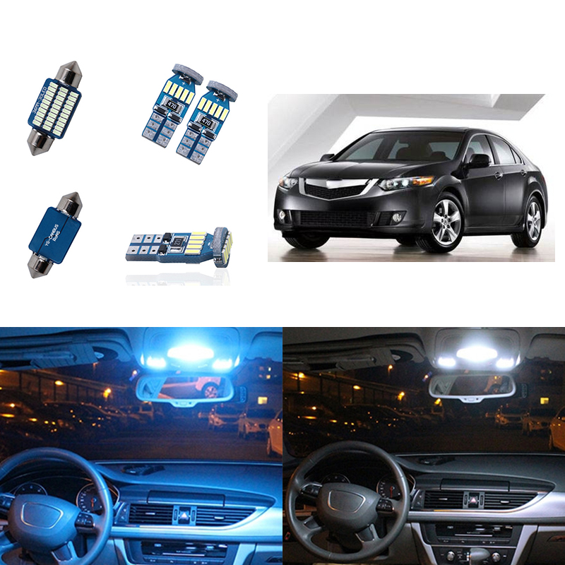 10pcs White Car LED Light Bulbs Interior T10 W5W 194 Map Dome Step Trunk Lamp Package Kit for <font><b>Acura</b></font> <font><b>TSX</b></font> 2004 2005 <font><b>2006</b></font> 2007 2008 image