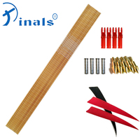 Inals Bamboo Skin Carbon Arrows Spine 400 500 600 ID6.2mm 32 Inch Turkey Vanes Compound Recurve Bow Longbow Hunting 12PCS