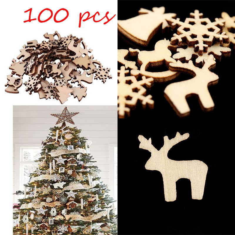 100 Pcs Pohon Natal Dekorasi 10 Gaya Kayu Natal Liontin Drop Ornamen Xmas Navidad Dekorasi Tahun Baru 2020