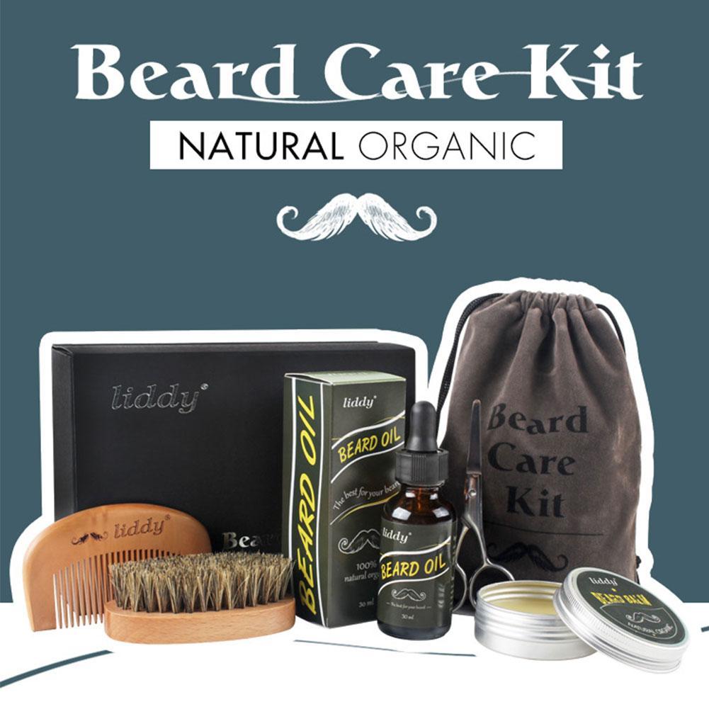6pcs Men's Beard Care Set Premium Beard Grooming Kit All-Natural Beard Oil Boar Bristle Brush With Gift Set Box For Men Care