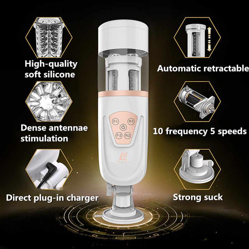 Masturbateur mâle télescopique à Piston automatique Machine à sexe électrique succion d'air vibrateurs rétractables Stroker jouets sexuels pour hommes