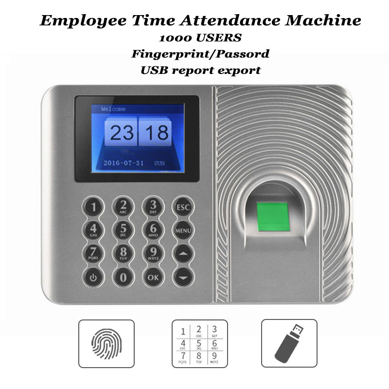 1000 Users Office Biometric Fingerprint Time Attendance Machine Code USB Disk Excel Export TCP/IP Empolyee Recognition Recorder