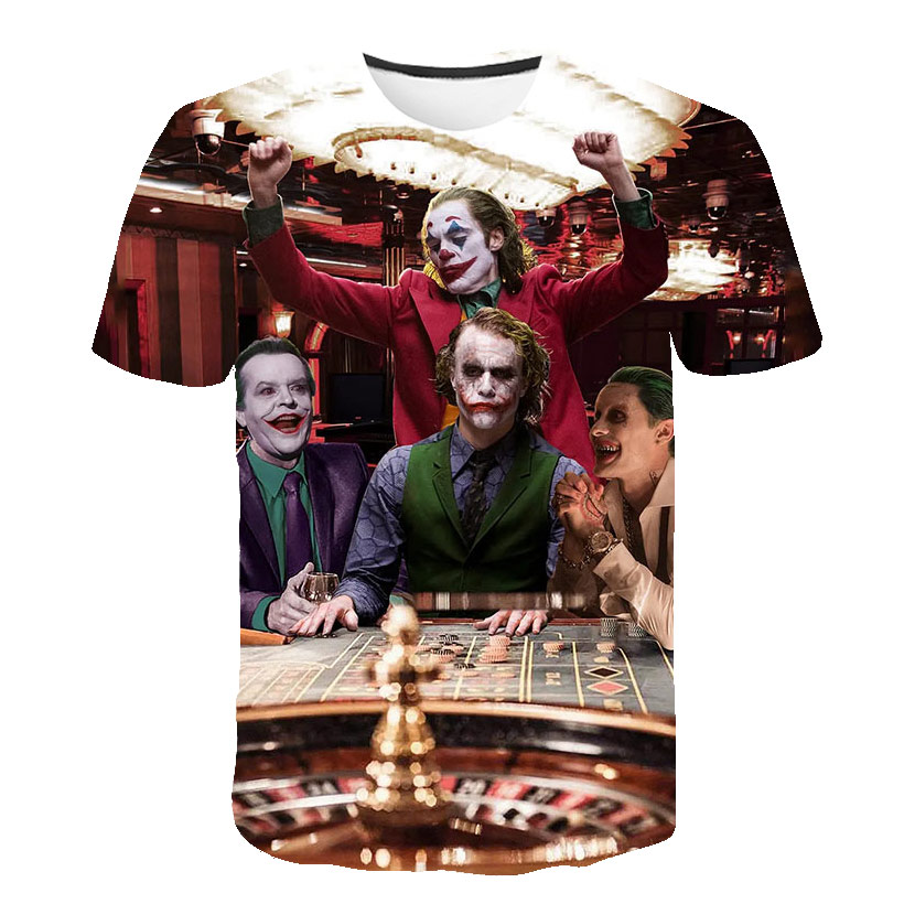 Joker Be Reborn 2019 New The Joker 3d T Shirt Funny Comics Character Joker With Poker 3d T-shirt Summer Harajuku Style Tees Top Full Printing