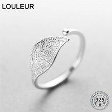 חדש 925 סטרלינג כסף פשוט עלה/צלב טבעת נשי קטן טרי עלה טבעות מתכוונן אצבע אופנה כסף 925 תכשיטים