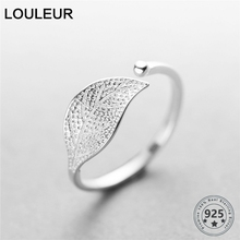 Nowy 925 Sterling Silver prosty liść/pierścionek krzyż kobiet mały świeży liść pierścienie regulowany palec wskazujący moda srebro 925 biżuteria