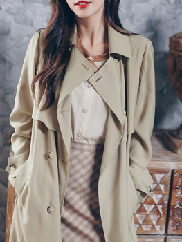 new Spring Autumn Long Trench Coat for Women Casual Slim Double Breasted chic with Pocket