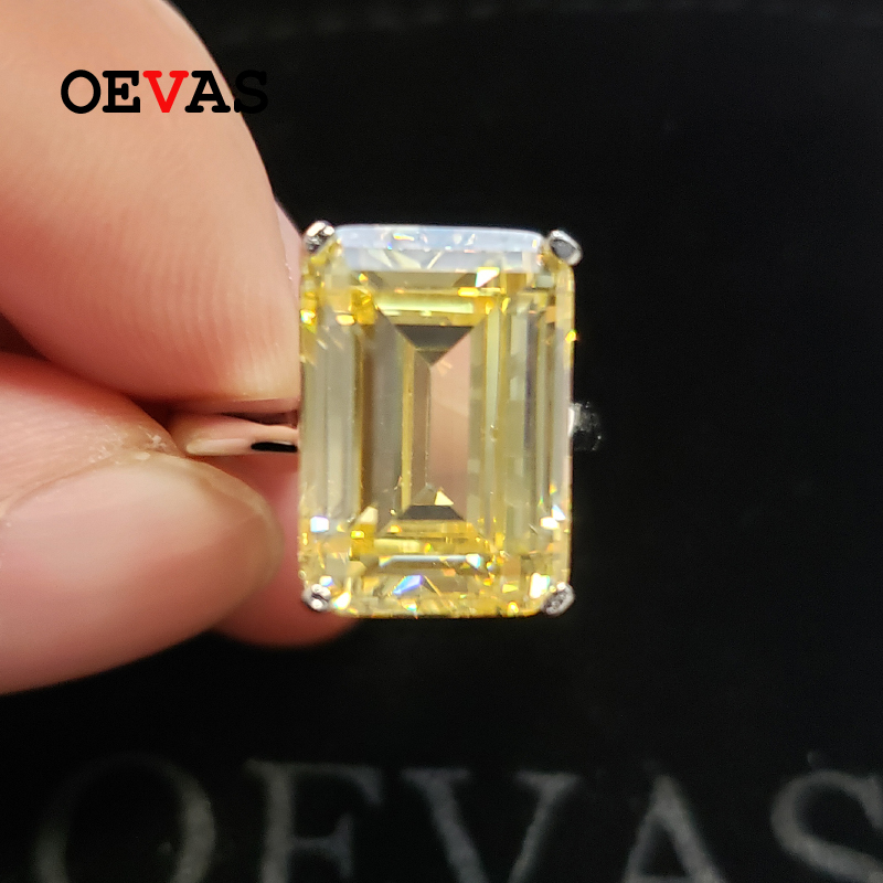 OEVAS Classic 100% 925 Sterling Silver Created Moissanite Gemstone Wedding Engagement Diamonds Ring Fine Jewelry Gift Wholesale
