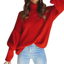 2019 New Knitted High Collar Sweaters Women Autumn Casual Wild Loose Lantern Sleeve Pullover Tops Sweaters Four-color S-XL Size four tops gateshead