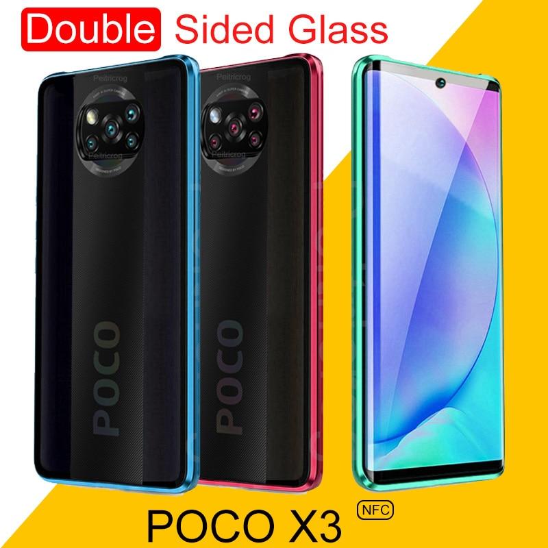 360 Double Sided Glass Case Poco X3 Case Magnetic Metal Bumper Back Cover For Xiaomi Pocophone X3 X 2 PocoX2 Coque Caso 6.67