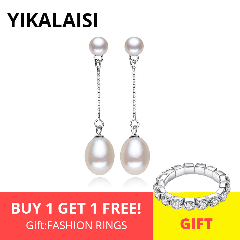YIKALAISI 925 Sterling Silver Jewelry Natural Double Pearl Earrings Jewelry 8-9mm Fashion Long Earrings White Pink Purple Black