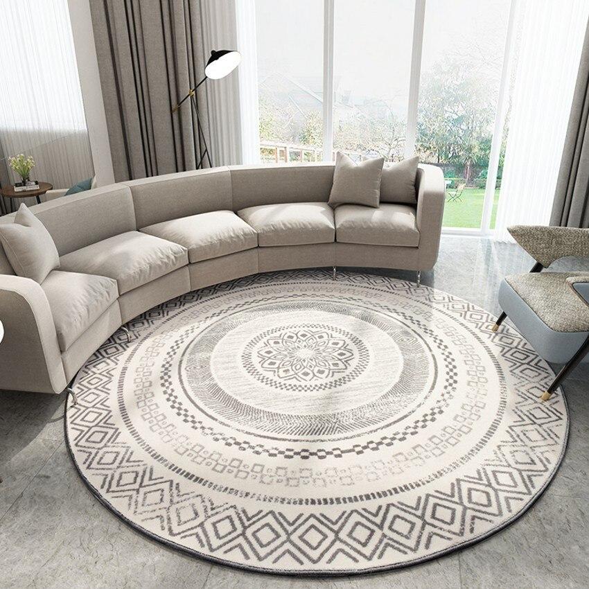 Big size machine weaved Nordic geometric round shaped  area rug , decoration parlor carpet, villa carpet, vintage floor mat