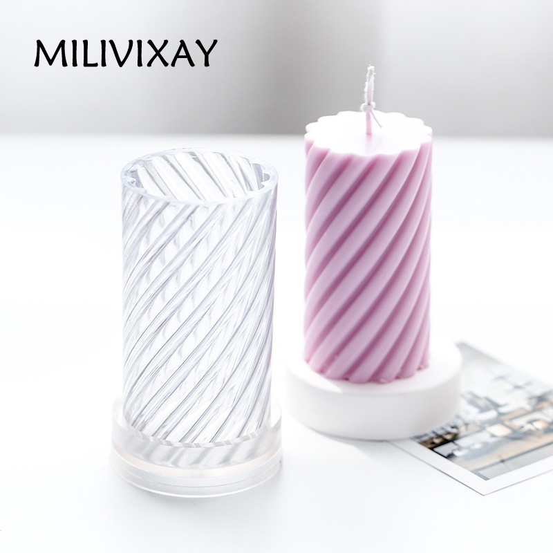1Pcs 5*7.5cm Spiral Shaped Candle Making Mold DIY Plastic Candle Moulds Wax Shaping Molds Craft Supplies