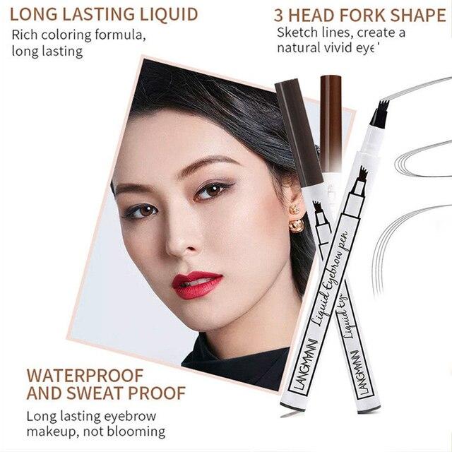 Microblading Eyebrow Tattoo Pen Waterproof 4 Head Fine Sketch Liquid Eyebrow Pencil Long Lasting Eye Brow Makeup 3 Colors 1